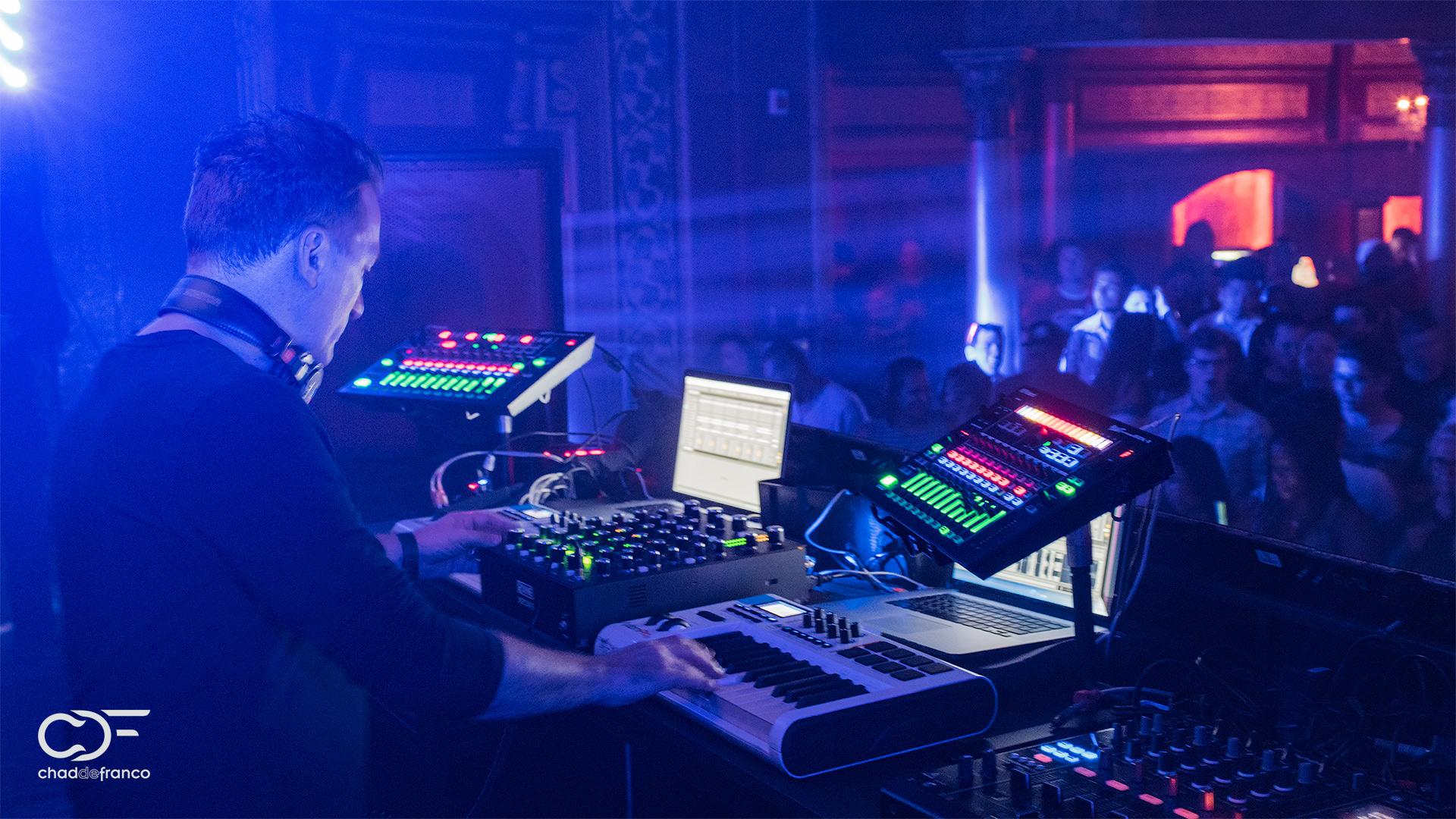 Paul van Dyk plays keyboards during his set at Opera Nightclub