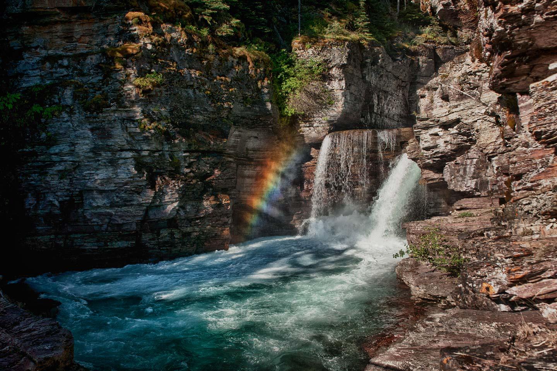Rainbow at St. Mary Falls, Glacier National Park, Montana